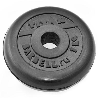 Блин обрезиненный TITAN Barbell 1 кг (d26)